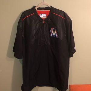 NWT Men's Majestic Miami Marlins 3/4 Zip Pullover.